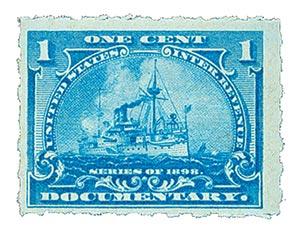 1898 1c pale blue, Hyphen Hole