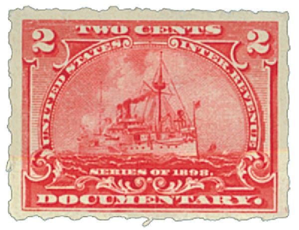 1898 2c Battleship, carmine rose