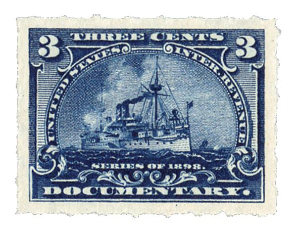 1898 3c Battleship, dark blue