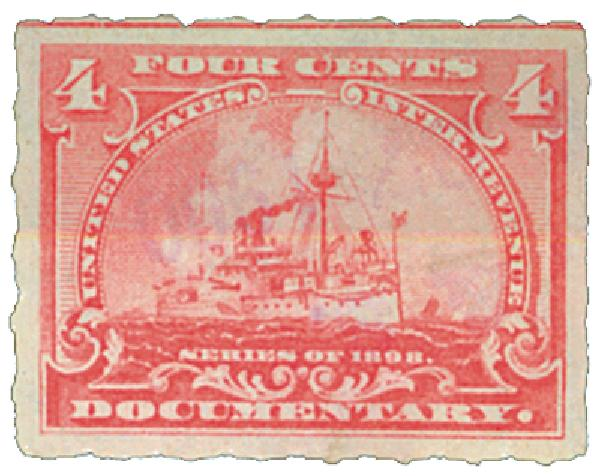 1898 4c Battleship, pale rose