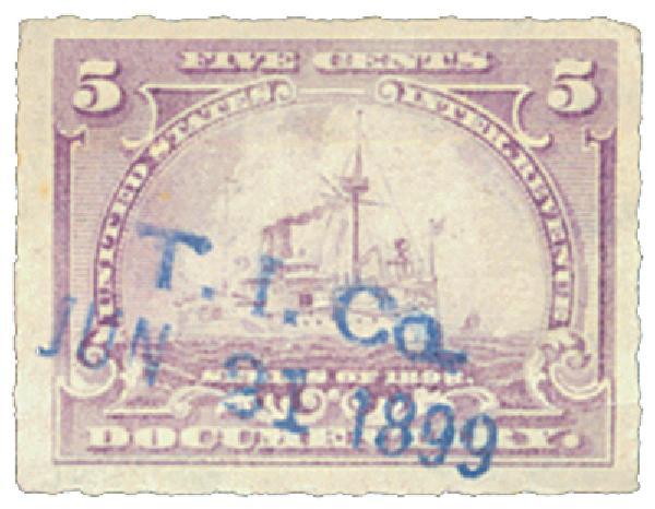 1898 5c Battleship, lilac