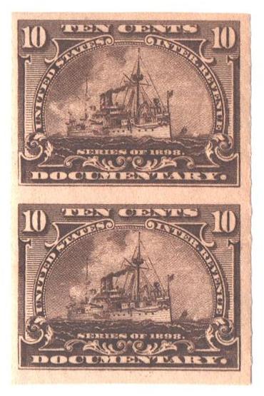 1898 10c Battleship, brown, vert pair
