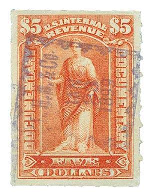 1898 $5 orange red