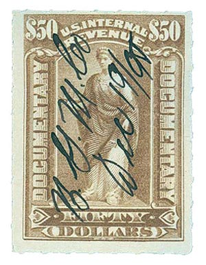 1898 $50 gray brown