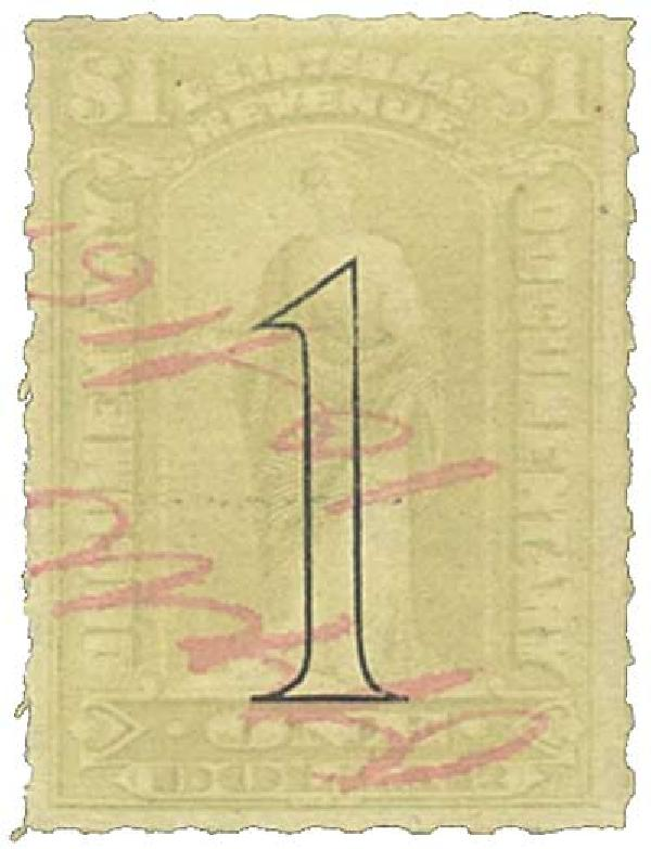 1900 $1 gry, rev, open numerals