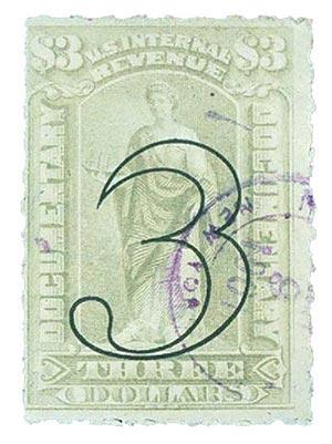 1900 $3 Grey Revenue Open Numerals