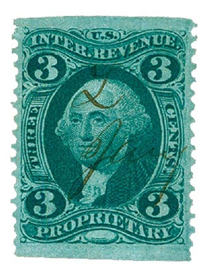 1862-71 3c grn, proprietary,part perf