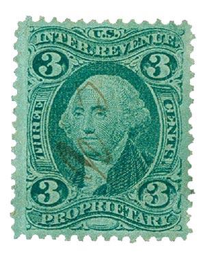 1862-71 3c grn, proprietary, silk paper