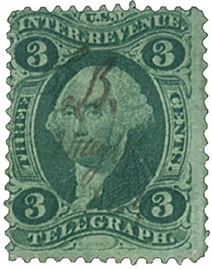 1862-71 3c grn, telegraph, old paper