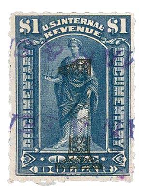 1902 $1 green, ornamental numerals