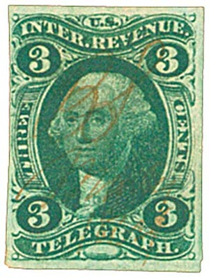1862-71 3c grn, telegraph, imperf