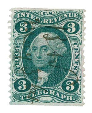 1862-71 3c grn, telegraph, part perf