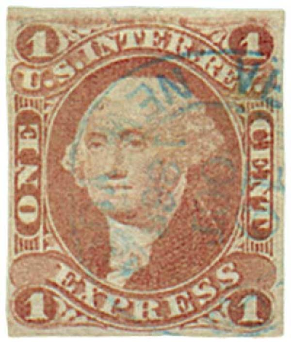 1862-71 1c red, express, imperf