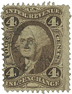 1862-71 4c brn, inld exchg, old paper