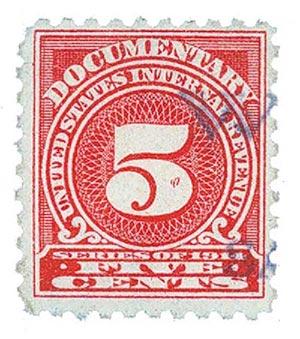 1914 5c ros, offset,sl wmk, perf 10