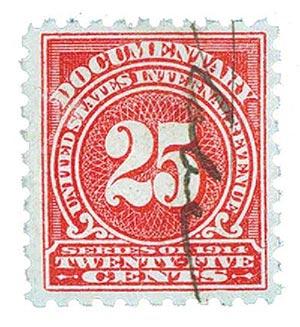 1914 25c ros, offset,sl wmk, perf 10
