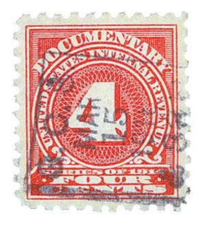 1914 4c ros, offset,dl wmk, perf 10