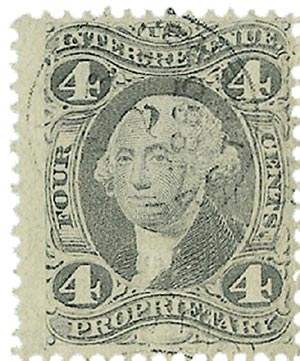1862-71 4c pur, proprietary, old paper