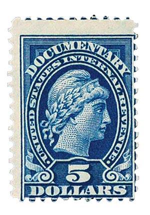 1914 $5 bl, liberty, rev, engraved