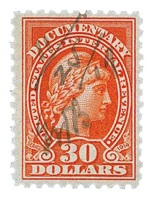 1914 $30 ver,liberty, rev, engraved