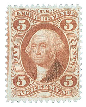 1862-71 5c red,agreement,old paper
