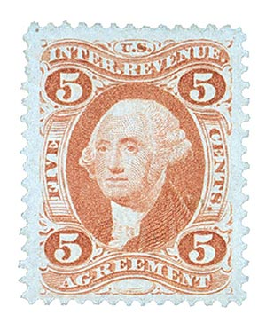 1862-71 5c red, agreement, silk paper