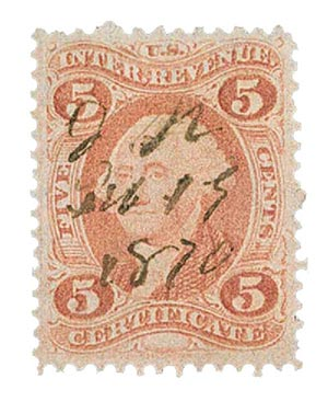 1862-71 5c red, certif, old paper