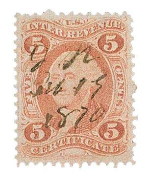 1862-71 5c red, certif, old paper