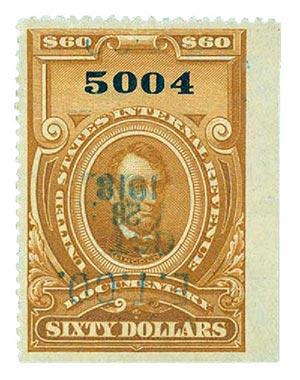 1917 $60 brown, no gum, perf 12