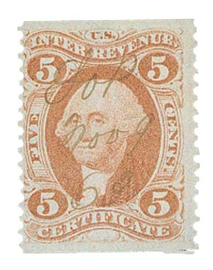 1862-71 5c red, certificate,part perf