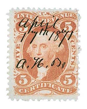 1862-71 5c red, certificate,silk paper