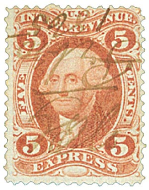 1862-71 5c red, express, old paper