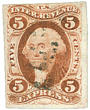 1862-71 5c red, express, imperf