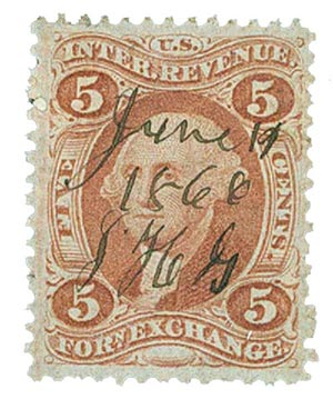 1862-71 5c red, forn exchg,old paper