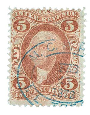 1862-71 5c red, inland exchg.silk paper