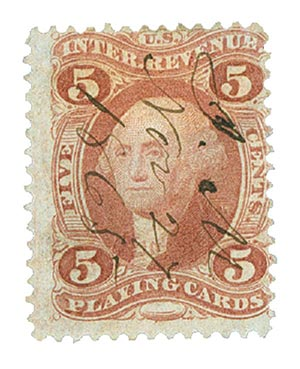 1862-71 5c red, play cards, old paper