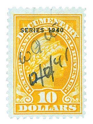 1940 $10 org, engraved, perf 11