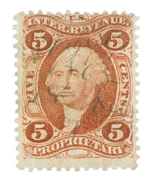 1862-71 5c red, Proprietary,old paper