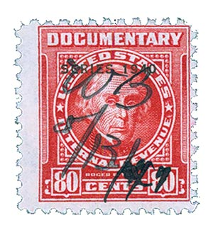 1940 80c Revenue, carmine, double line watermark, perf 11