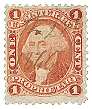 1862-71 1c red, proprietary, old paper