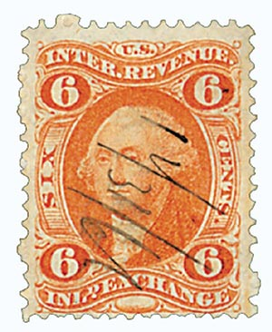 1862-71 6c orange, inld exchg, old paper