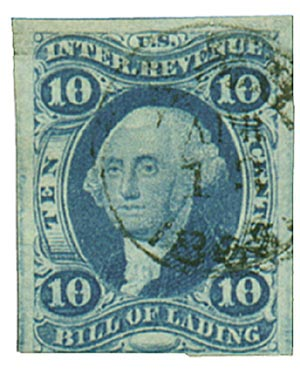 1862-71 10c blue, bill of lading, imperf