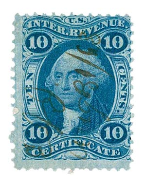 1862-71 10c blue, certificate, old paper