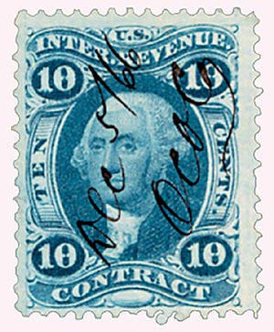 1862-71 10c blue, contract, old paper