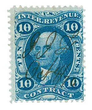 1862-71 10c blue, contract, silk paper