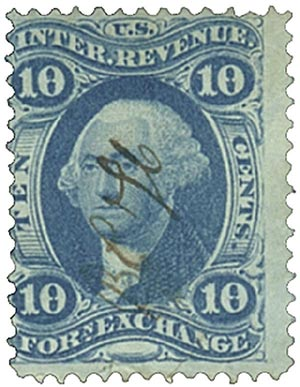 1862-71 10c blue, forn exchng,old paper