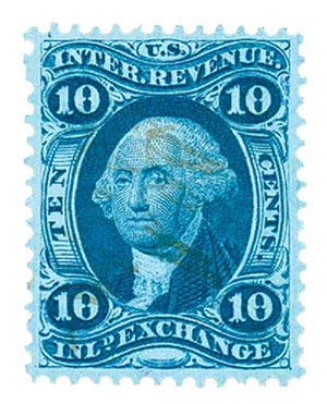 1862-71 10c blue, inld exchg, old paper