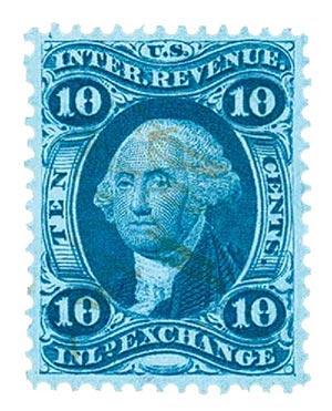 1862-71 10c blue, inld exchg, old paper