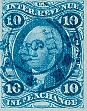 1862-71 10c blue, inld exchg, imperf