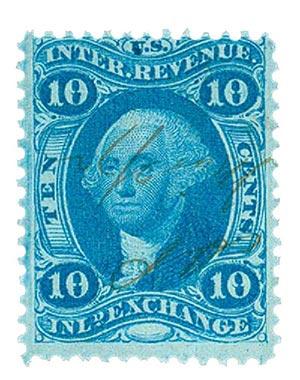 1862-71 10c blue, inld exchg, silk paper